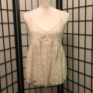 Pinky M White Floral Lace Tank Top Caged Back